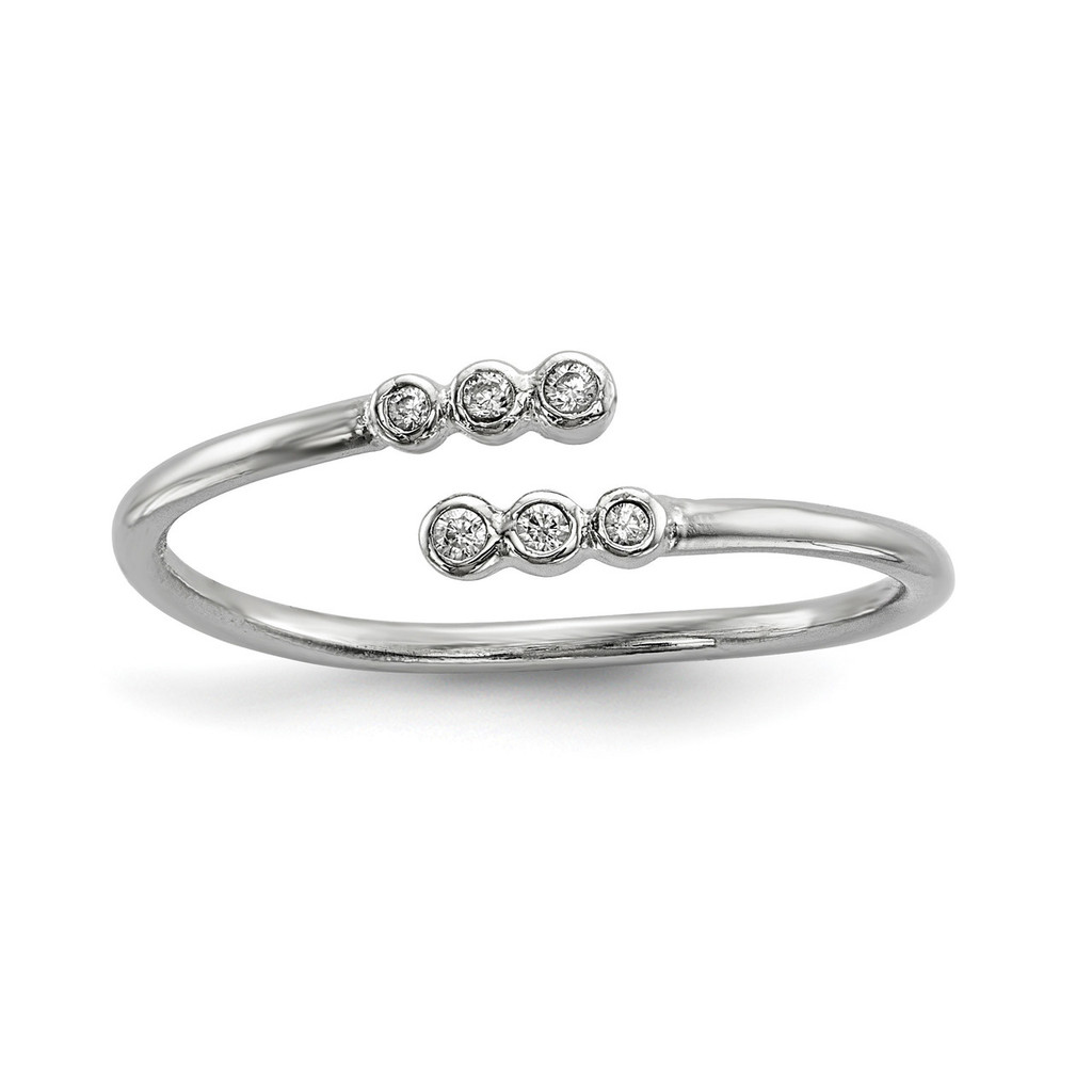 CZ Adjustable Ring Sterling Silver Rhodium-plated MPN: QR6718