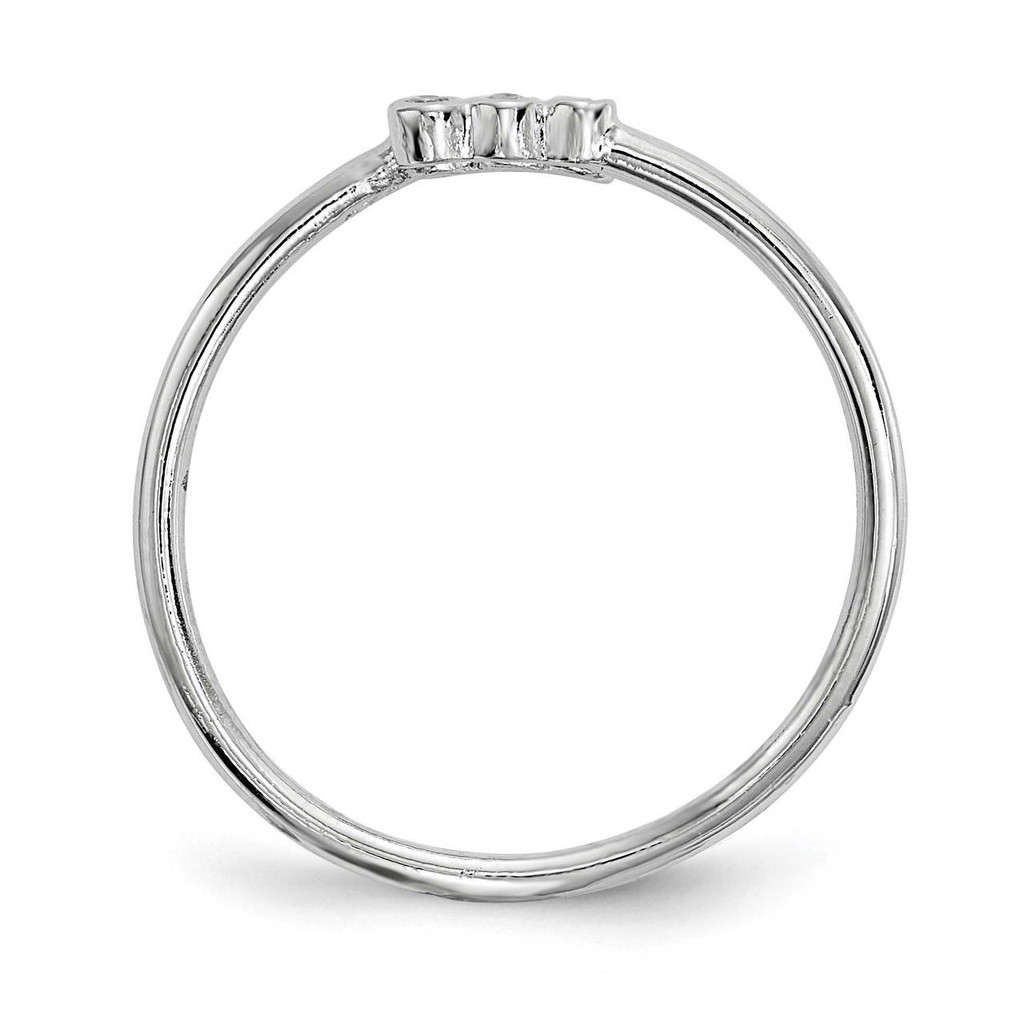 CZ Diamond Adjustable Ring Sterling Silver Rhodium-plated QR6718
