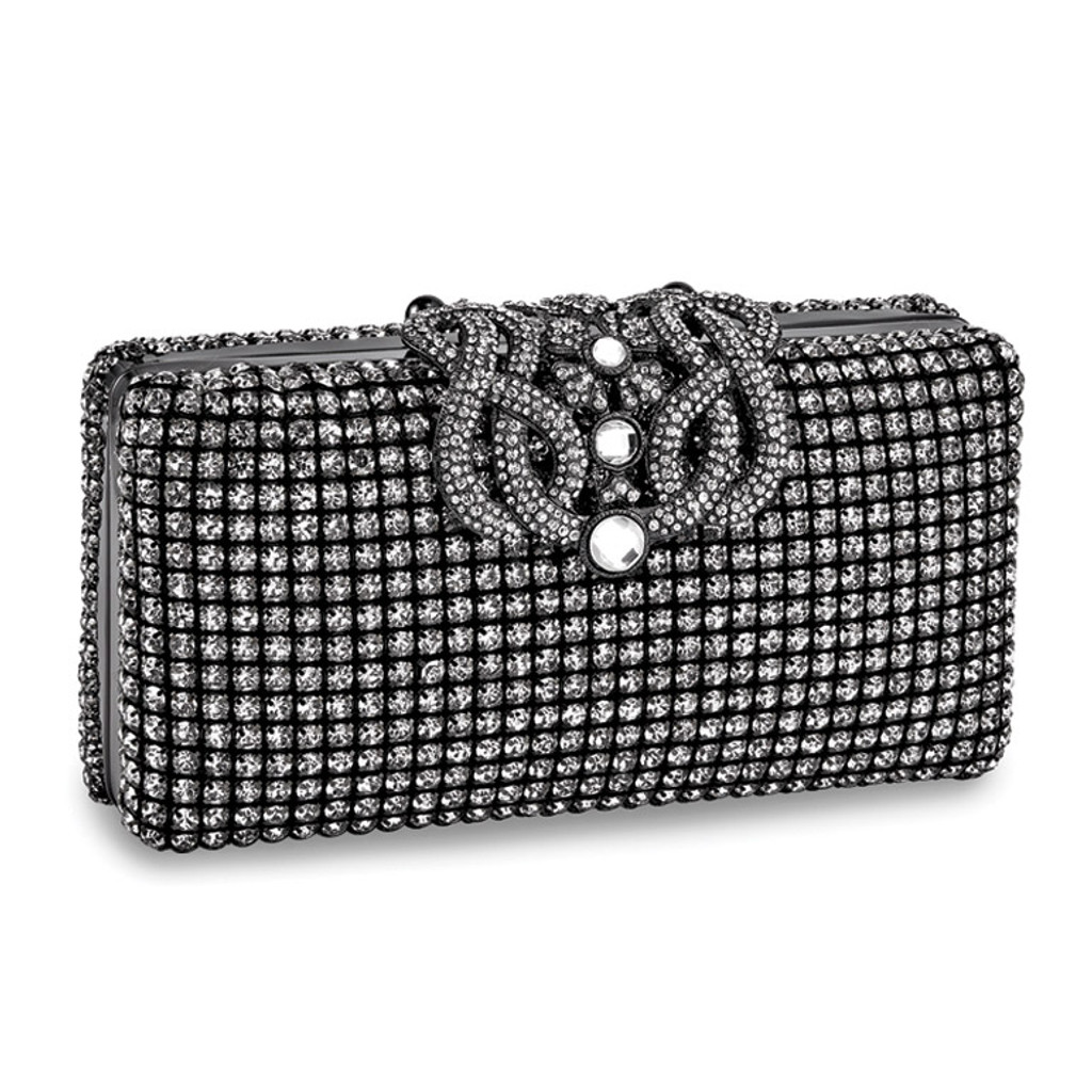 Black Crystal Deco Ornament Evening Bag with Chain, MPN: GM16795, UPC: 788089137984