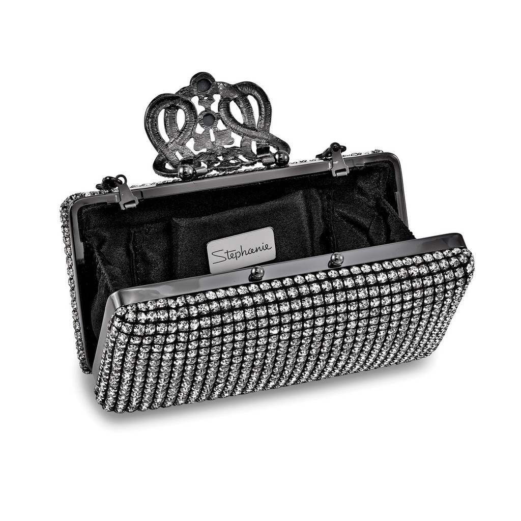 Black Crystal Deco Ornament Evening Bag with Chain GM16795