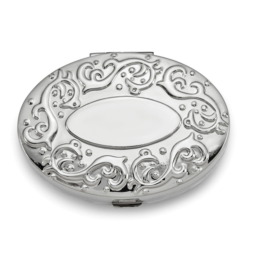 Oval 2-Section Pillbox with Mirror Silver-tone, MPN: GM16808, UPC: 788089026912