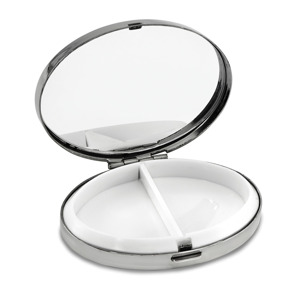 Oval 2-Section Pillbox with Mirror Silver-tone GM16808