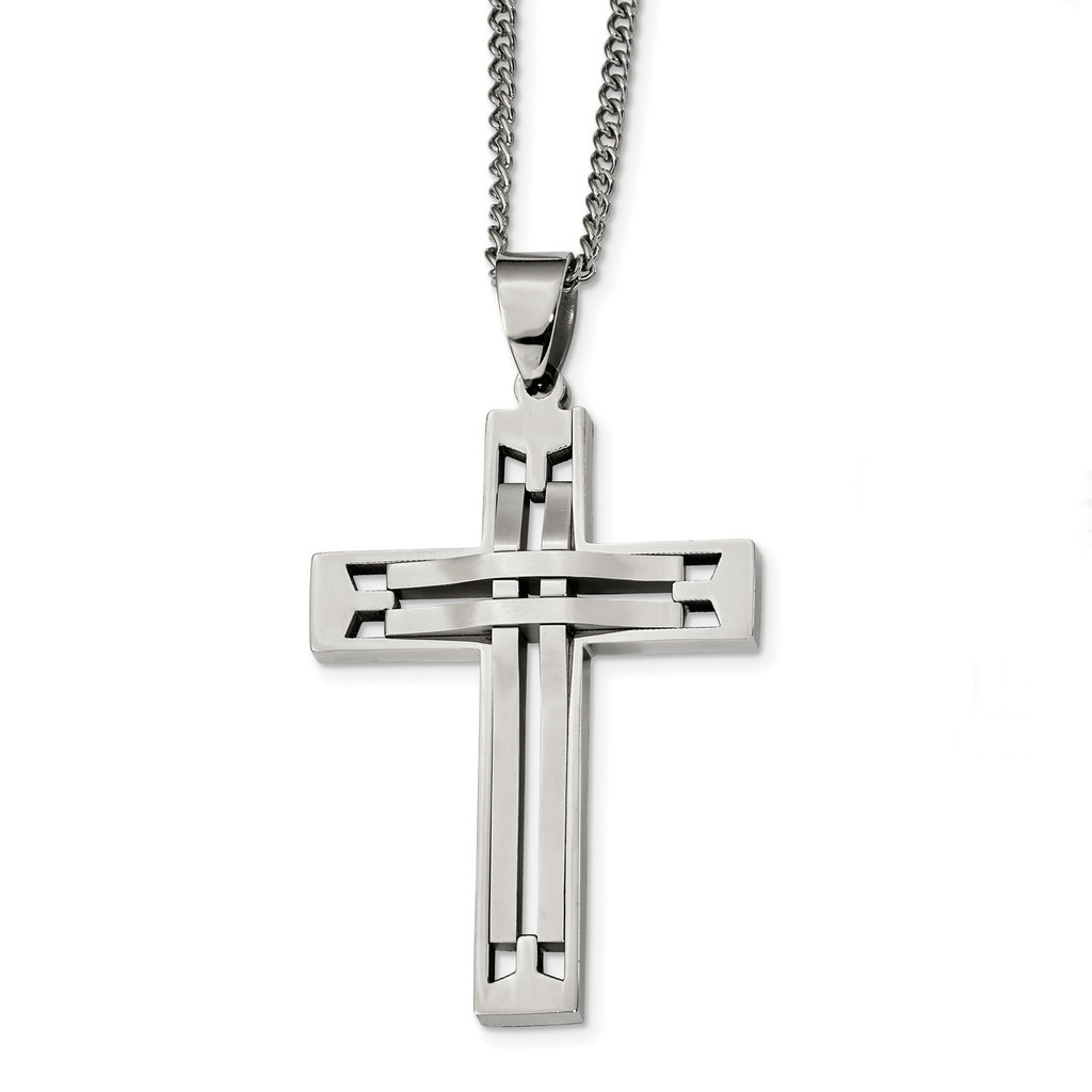 24 inch Cross Necklace Stainless Steel Polished, MPN: SRN2382-24, UPC: 191101854866 by Chisel Jewelry