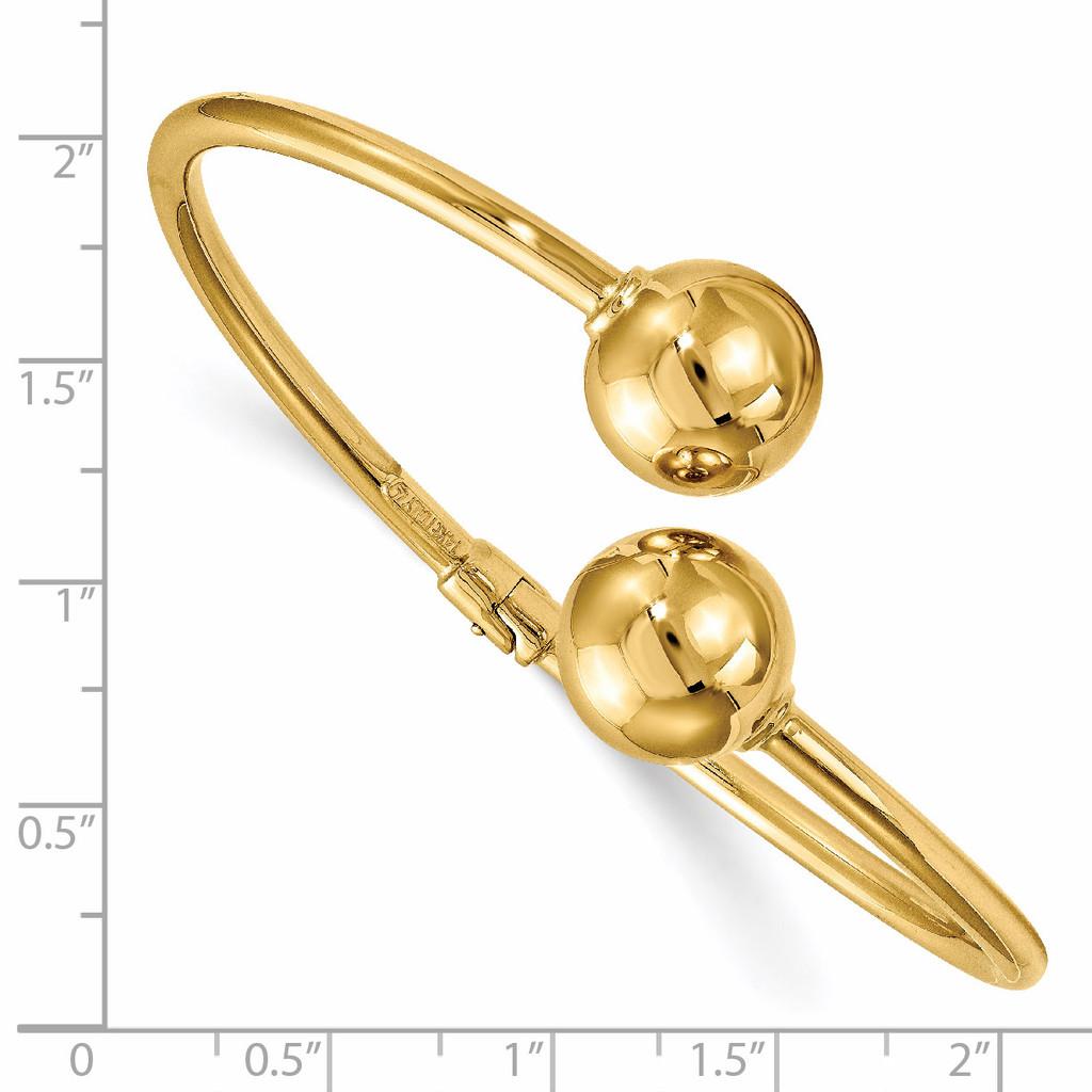 Hinged Cuff Bangle 14k Gold Polished HB-LF1047