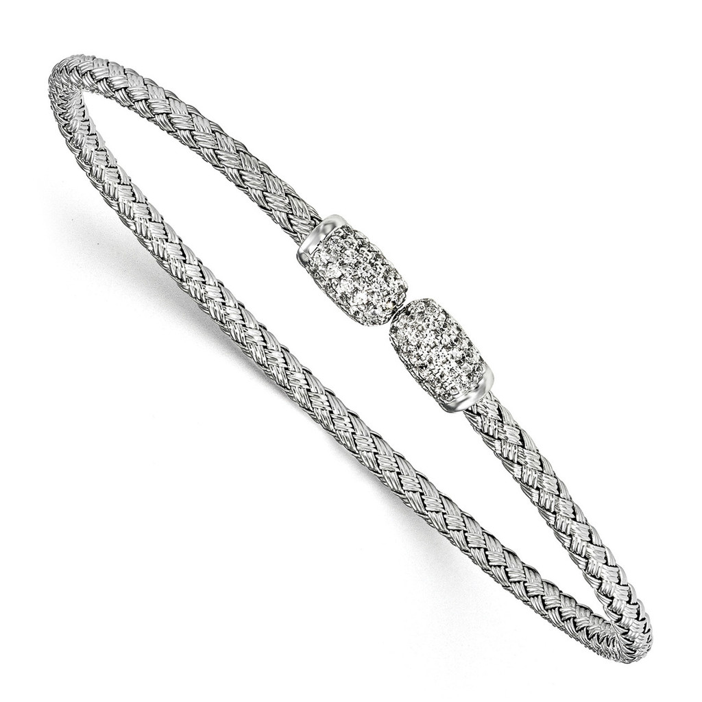 CZ Woven Cuff Bangle Sterling Silver Rhodium-plated by Leslie's Jewelry MPN: QLF830