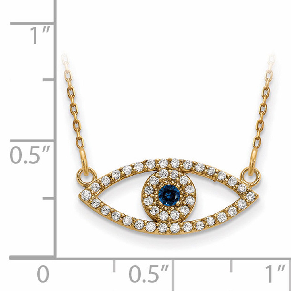 Small Diamond and Sapphire Evil Eye Necklace 14k Gold XP5044S/A