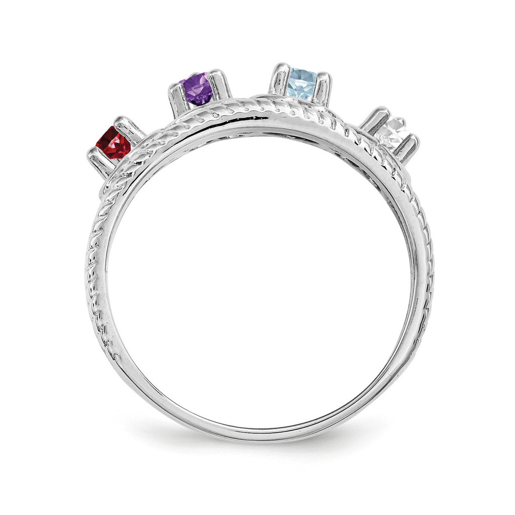 14K White Gold Genuine Ring Family & Mother XMR65/4WGY