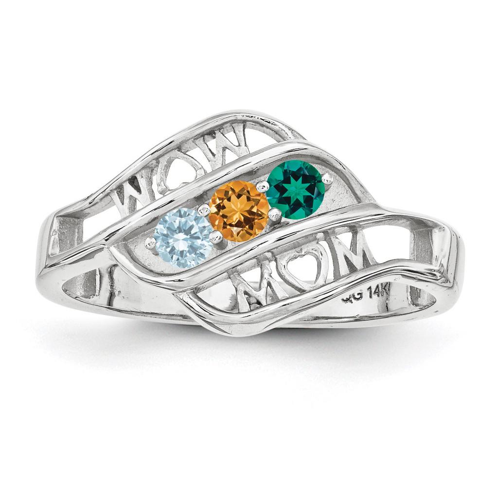 14K White Gold Genuine Ring Family & Mother MPN: XMR66/3WGY, UPC: 191101539619