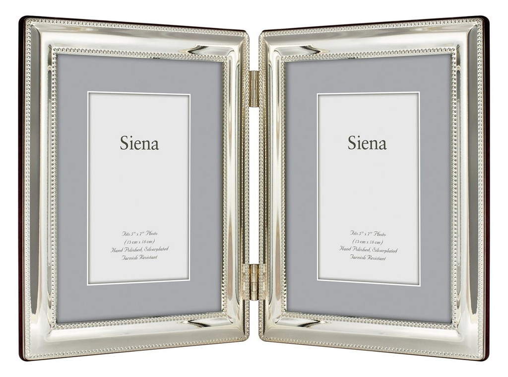 Tizo Double Border Bead Silver Plated Double Picture Frame 5 X 7