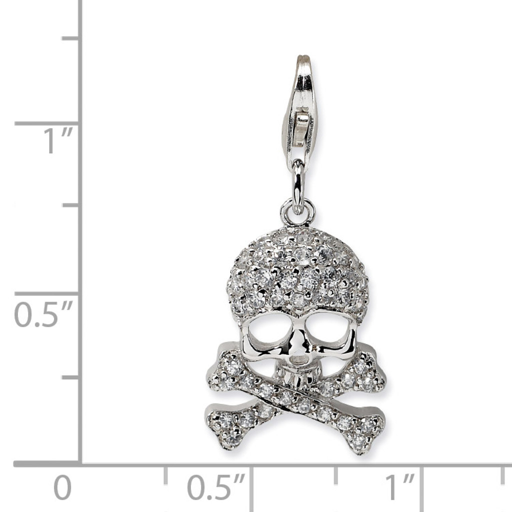 Skull and Cross Bones Charm Sterling Silver Synthetic Diamond QCC466