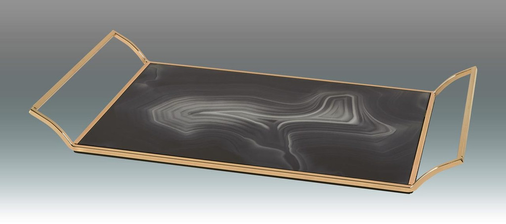 Tizo Tray Platter Marble Grey with Gold Handles, MPN:  TA815GYTY