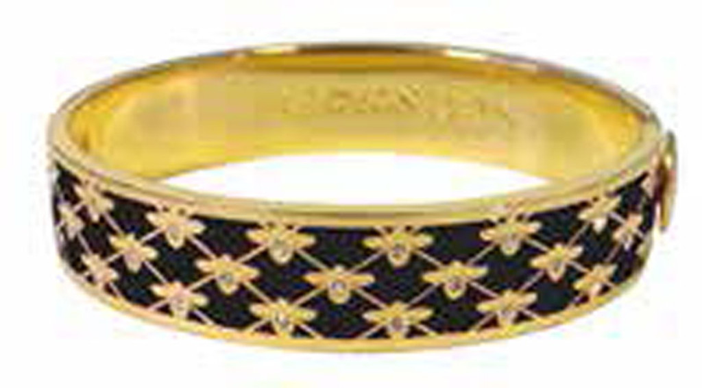 Halcyon Days 13mm Bee Sparkle Trellis Black Gold Hinged Bangle Bracelet, MPN: HBBES0213G