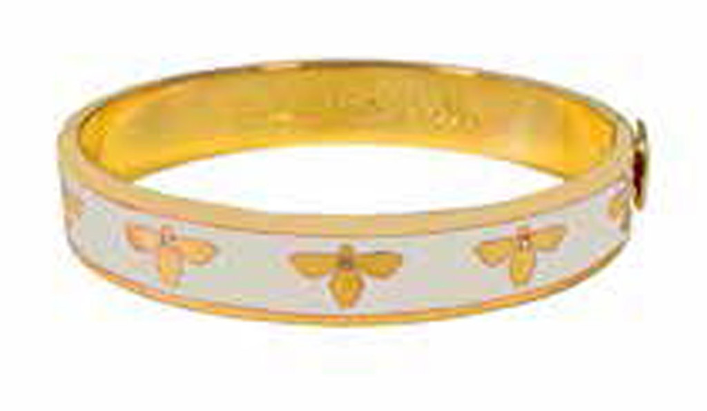 4b6e874cf3041 Halcyon Days 1cm Bee Cream Gold Hinged Bangle Bracelet HBBEE0510G