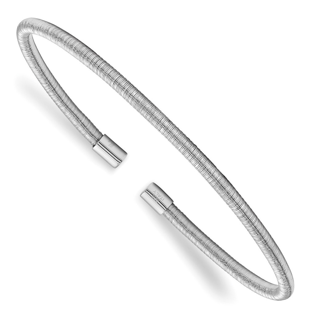 Leslie's Textured Cuff Bangle Sterling Silver Rhodium-plated MPN: QLF905