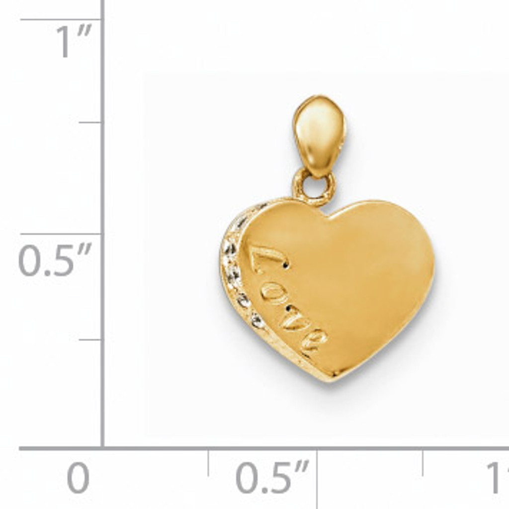 CZ Children's Love Heart Pendant 14k Gold YC1143