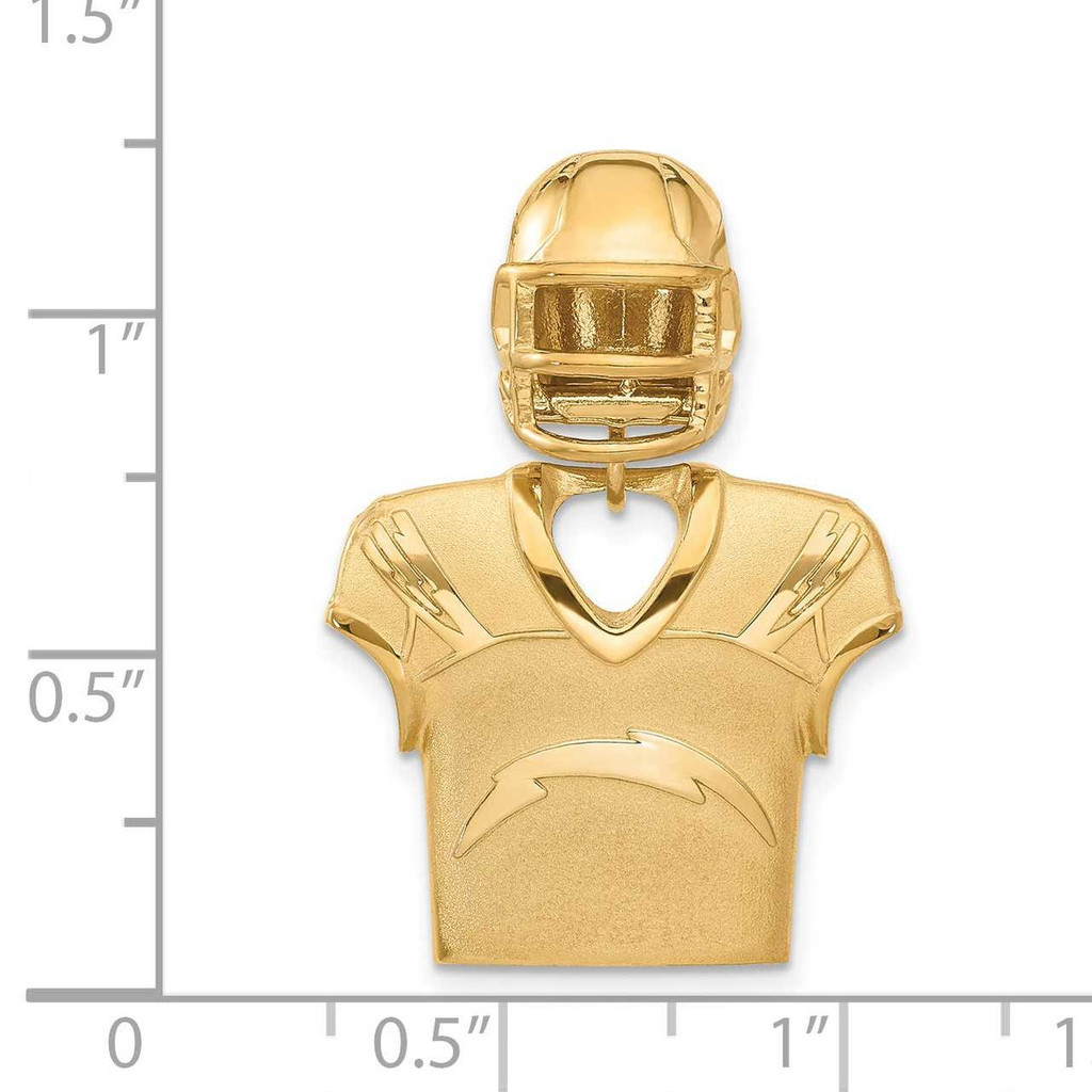 Los Angeles Chargers Jersey & Helmet Pendant Gold-plated on Sterling Silver GP531CHA