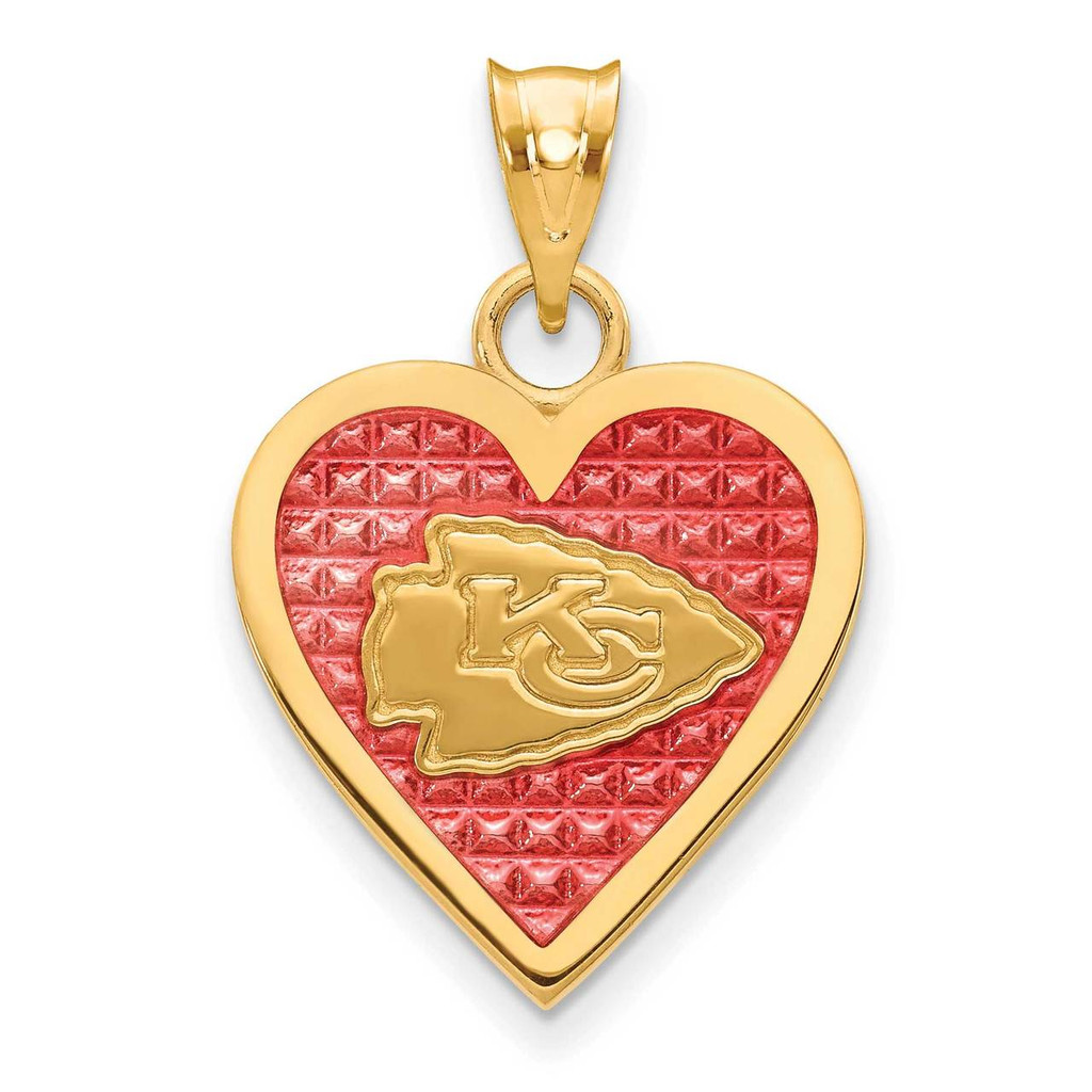 Kansas City Chiefs Enameled Heart Pendant Gold-plated on Sterling Silver MPN: GP532CHF UPC: 634401012050