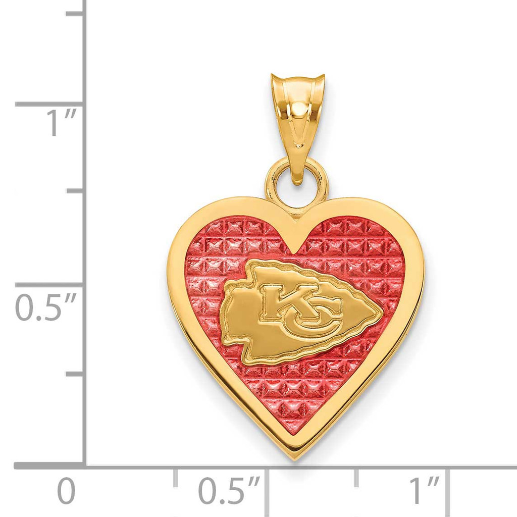Kansas City Chiefs Enameled Heart Pendant Gold-plated on Sterling Silver GP532CHF
