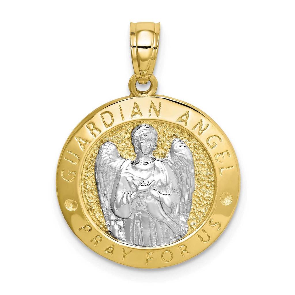 10k Gold with Rhodium Guardian Angel Medallion, MPN: 10C1453, UPC:
