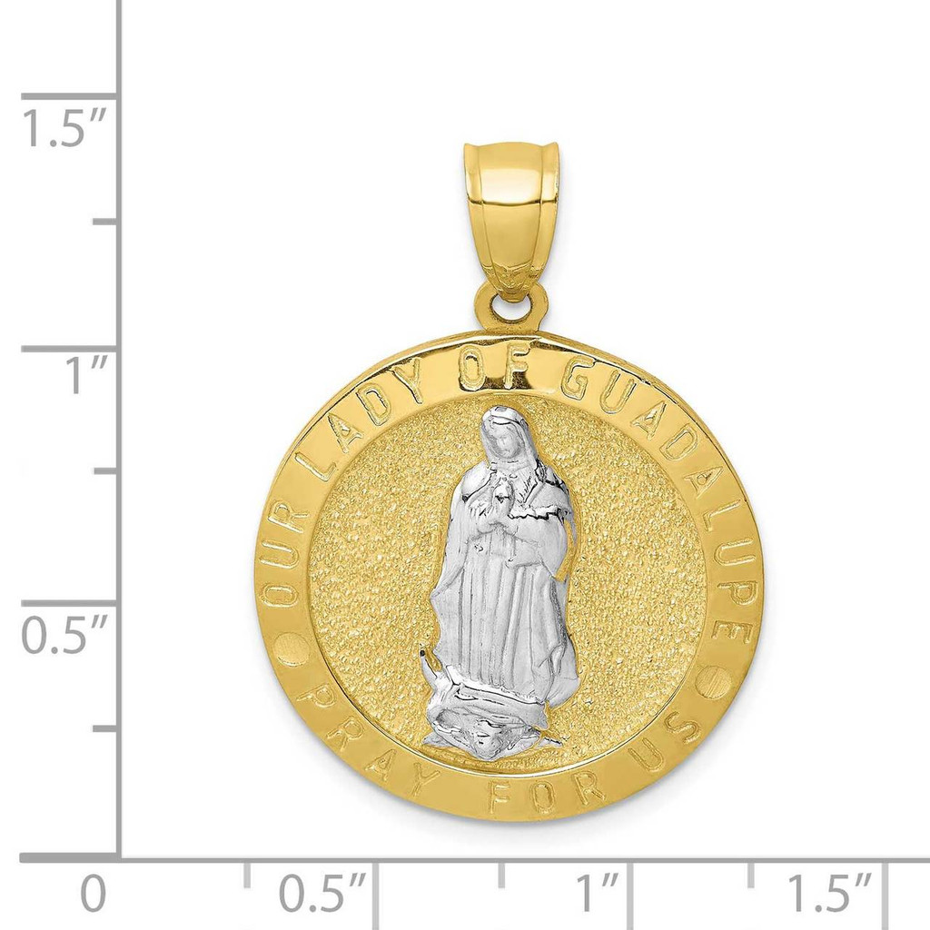 Guadalupe Reversible Praying Hands Medal 10k Gold with Rhodium 10C1456