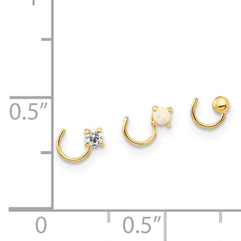 14K CZ Diamond, Synthetic Opal and Ball Nose Post Set 14k Gold CZ Diamond BD150SET