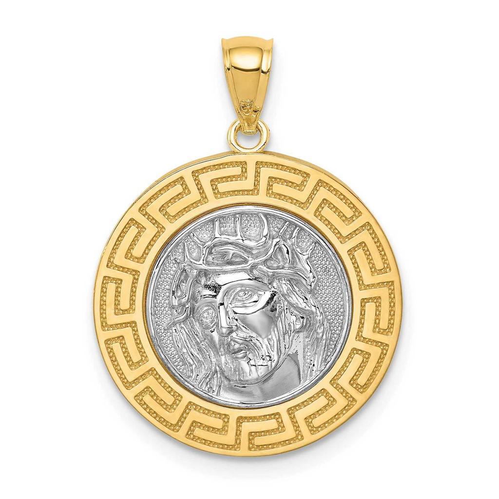 14k White Gold Rhodium Jesus Medal, MPN: C4709, UPC: