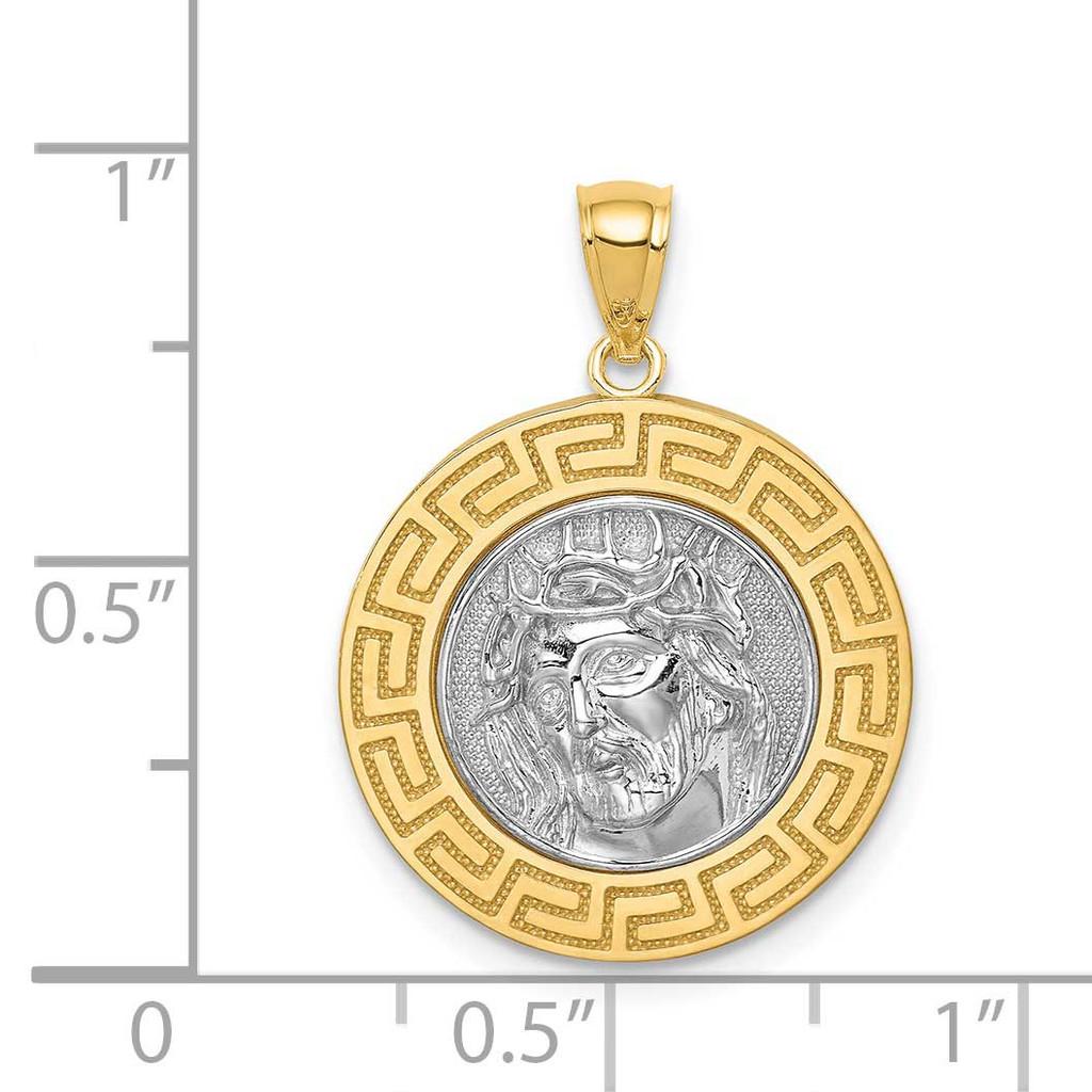 Jesus Medal 14k White Gold Rhodium C4709