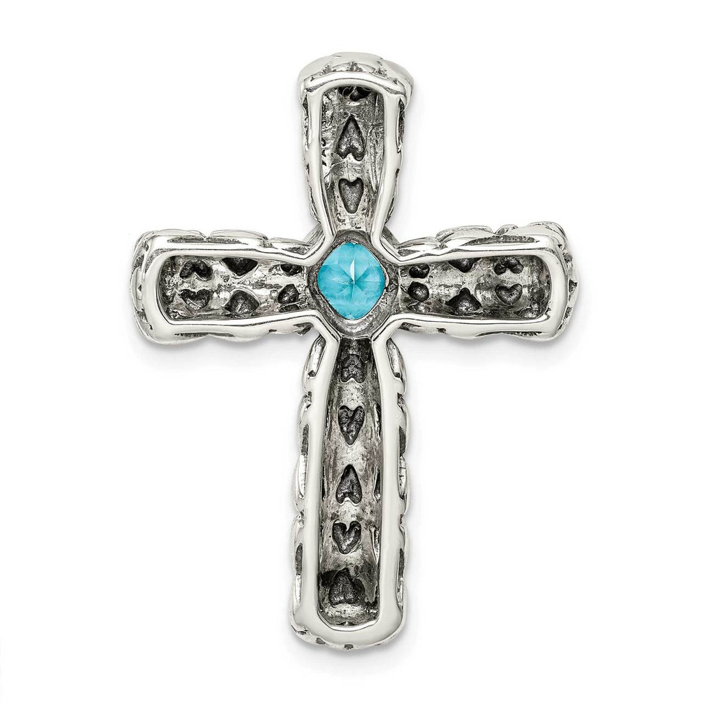 Blue Cross Chain Slide Sterling Silver CZ Diamond QC9383