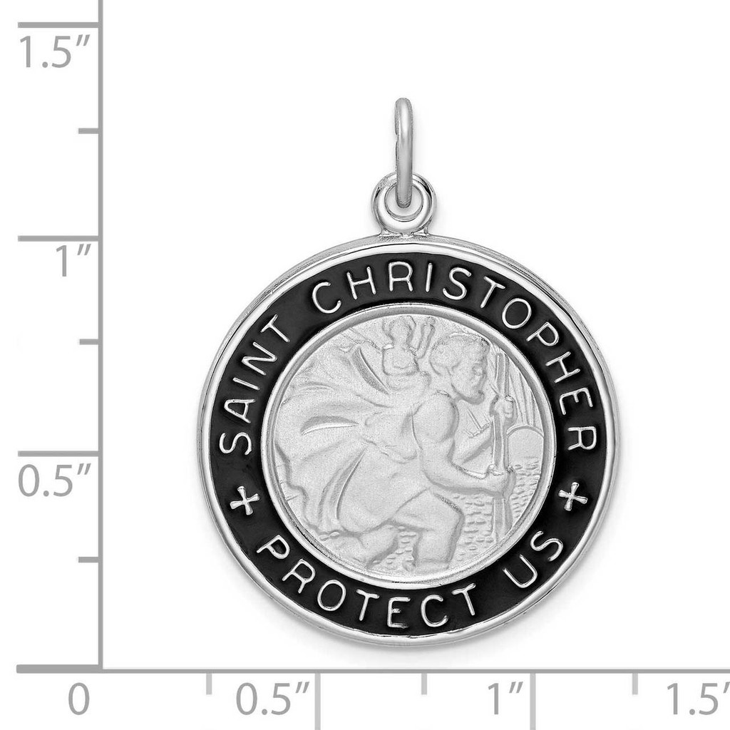 Enamel St. Christopher Medal Sterling Silver Rhodium-plated QC9416