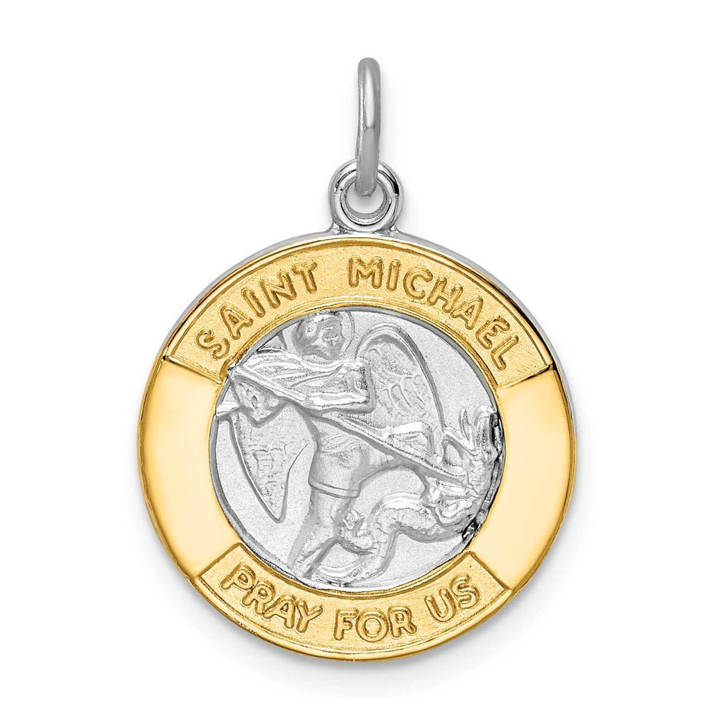 Sterling Silver Rhodium-plated Gold Tone St. Michael Medal, MPN: QC9422, UPC: