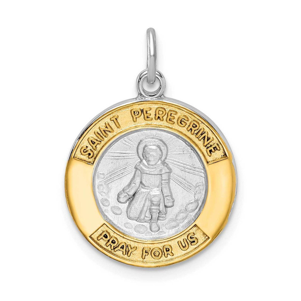 Sterling Silver Rhodium-plated Gold Tone St Peregrine Medal, MPN: QC9424, UPC: