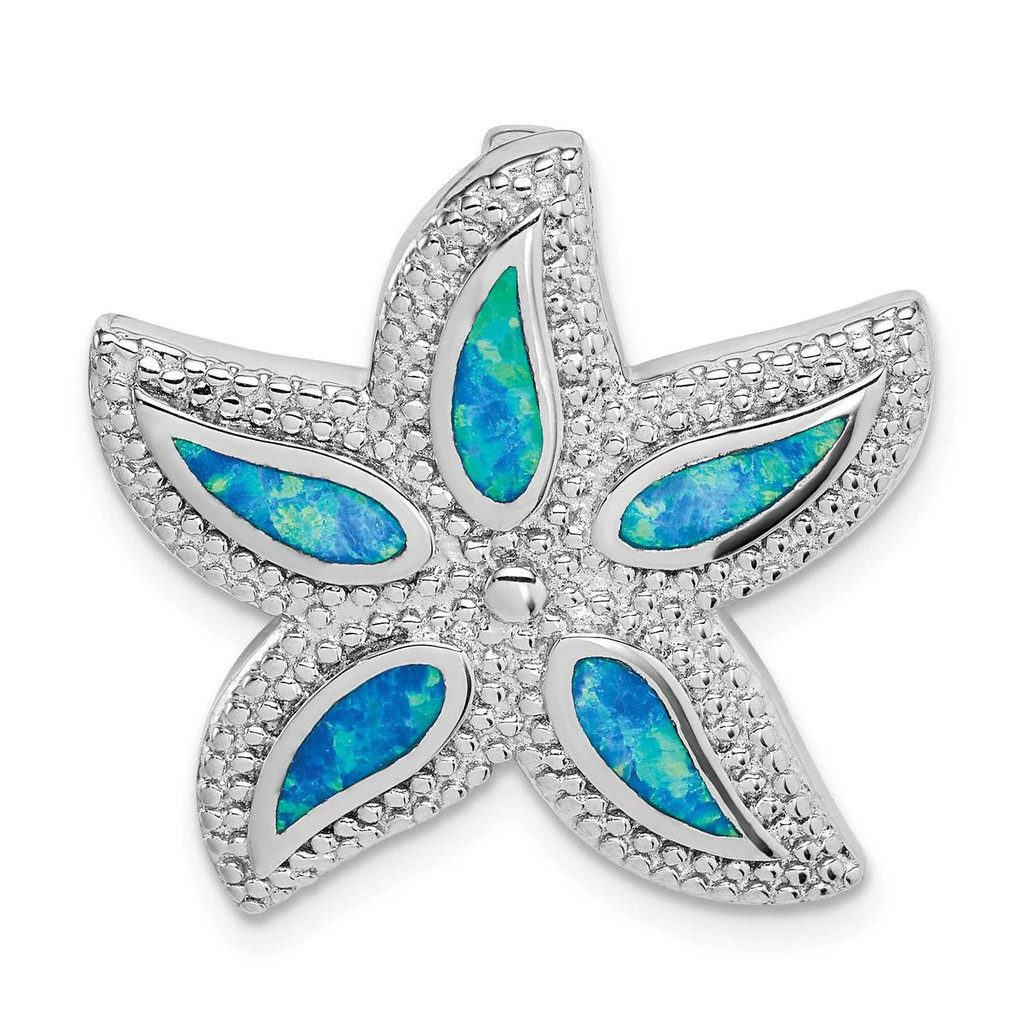 Sterling Silver Rhodium-plated Created Blue Opal Starfish Slide, MPN: QP5339, UPC: