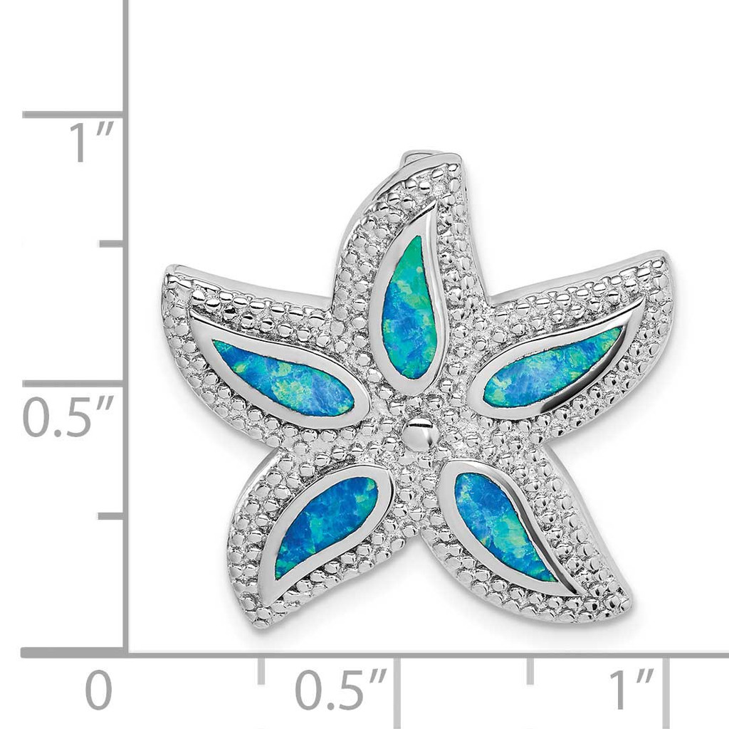 Created Blue Opal Starfish Slide Sterling Silver Rhodium-plated QP5339