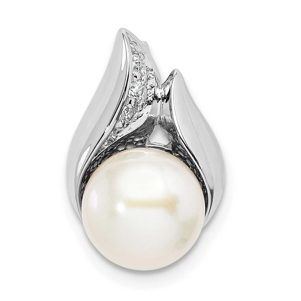 Sterling Silver Rhodium-plated CZ Diamond (8-9mm) Button Freshwater Cultured Pearl Slide, MPN: QP5347, UPC:
