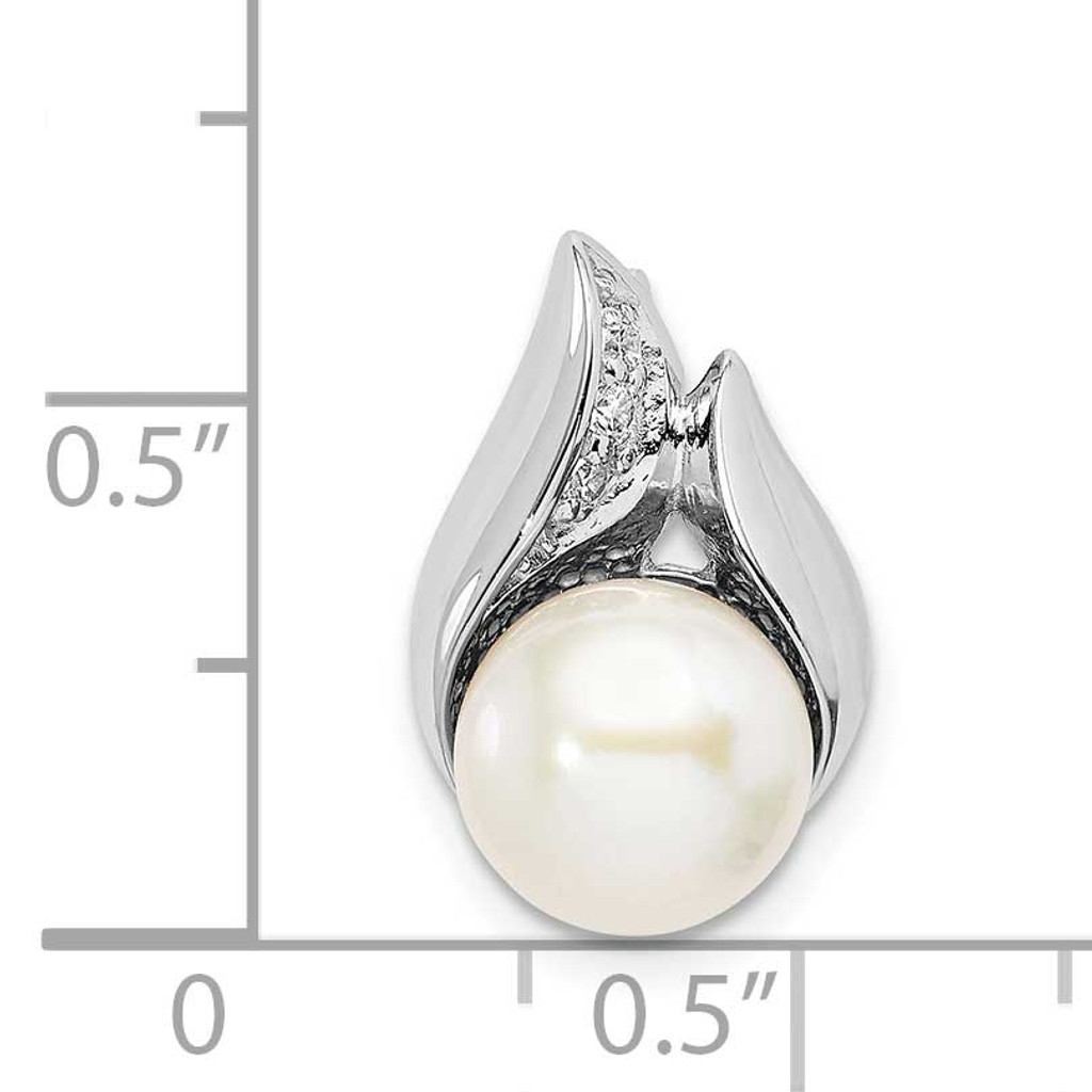 (8-9mm) Button Freshwater Cultured Pearl Slide Sterling Silver Rhodium-plated CZ Diamond QP5347
