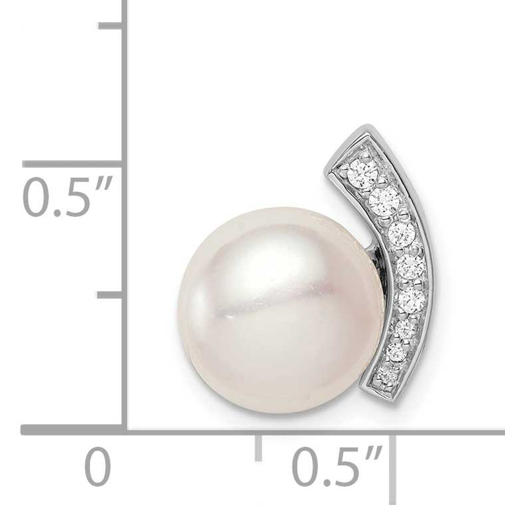 (10-11mm) Button Freshwater Cultured Pearl Chain Slide Sterling Silver Rhodium-plated CZ Diamond QP5349