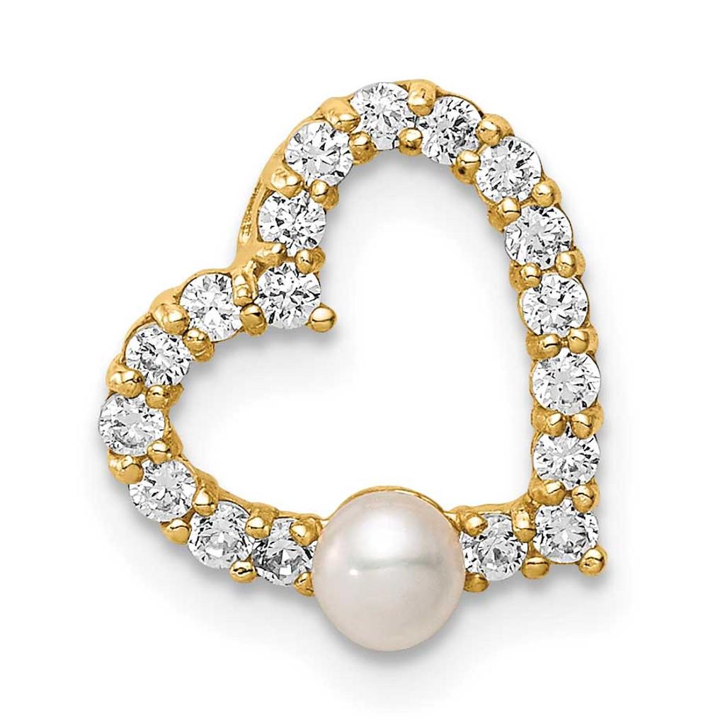 14k Gold CZ Diamond 3-4mm White Button Freshwater Cultured Pearl Heart Chain Slide, MPN: SE3002, UPC:
