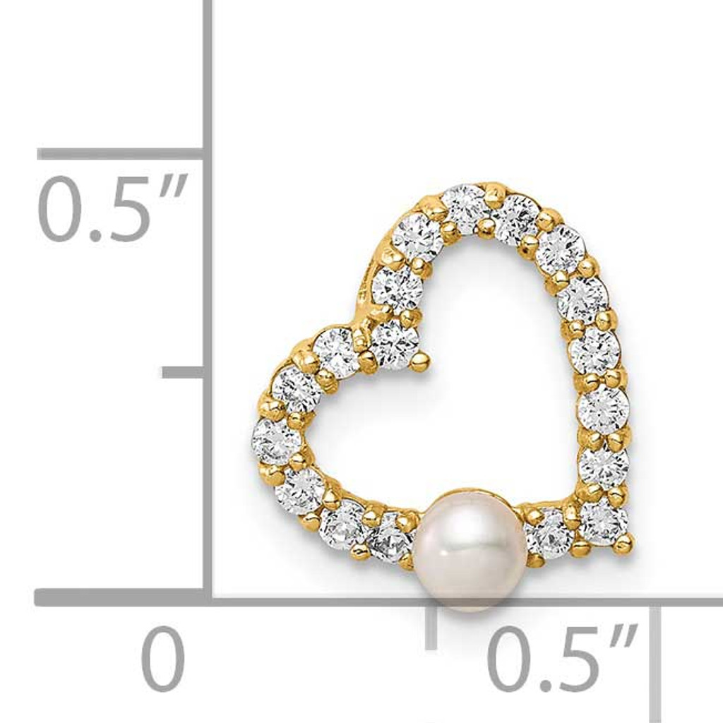 3-4mm White Button Freshwater Cultured Pearl Heart Chain Slide 14k Gold CZ Diamond SE3002