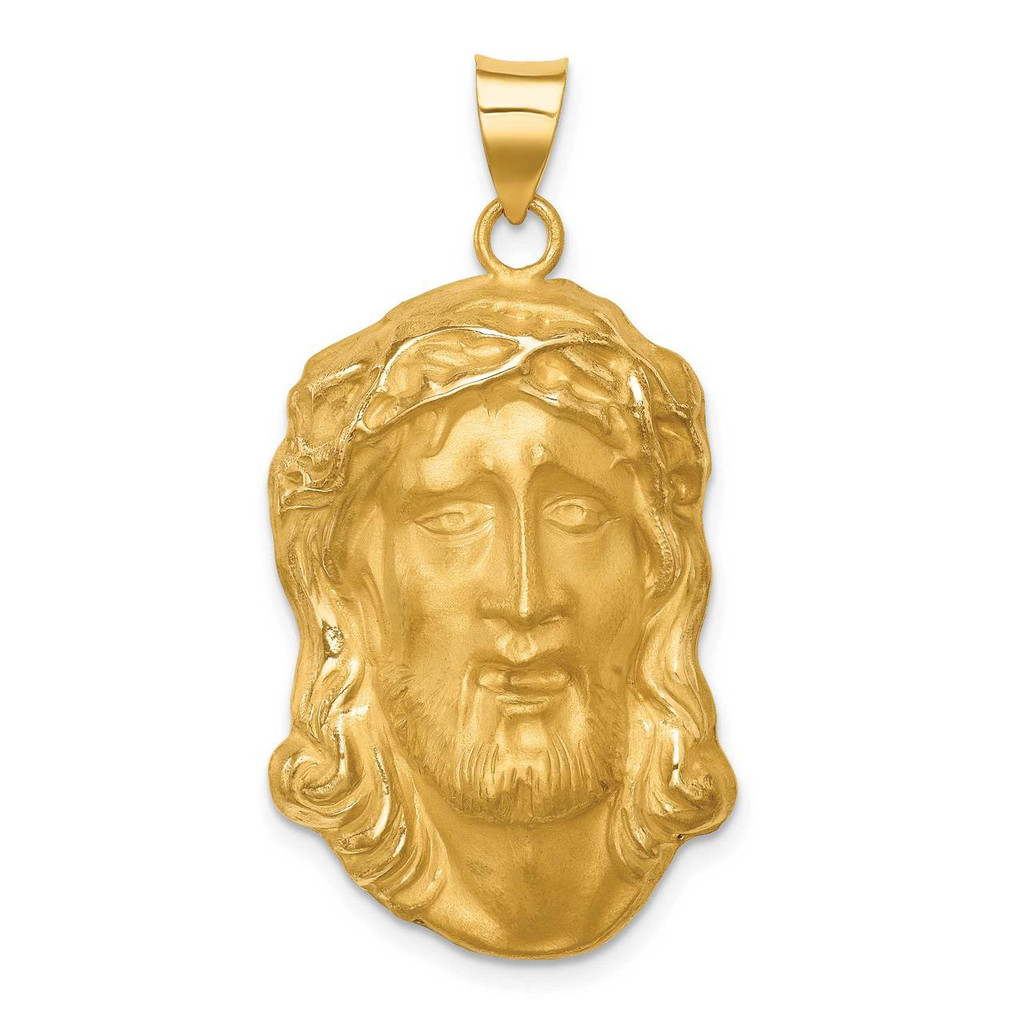 14k Hollow Polished Satin Large Jesus Medal, MPN: XR1732, UPC: