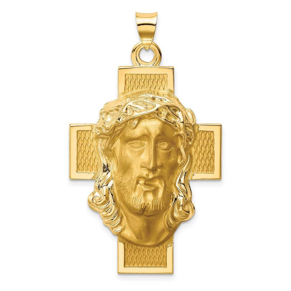 14k Hollow Polished Satin Jesus Cross Medal, MPN: XR1743, UPC: