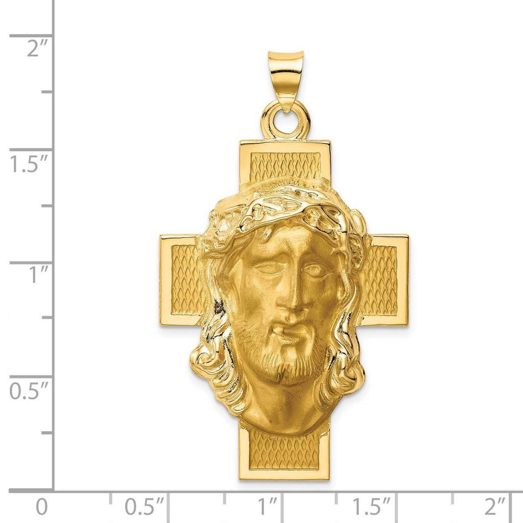 Jesus Cross Medal 14k Hollow Polished Satin XR1743