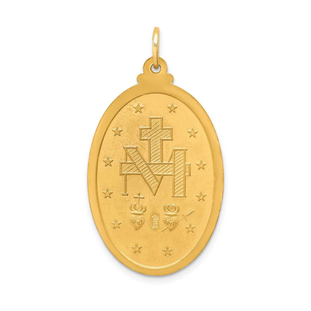Large Oval Miraculous Medal 14k Gold Solid Polished Satin XR1747