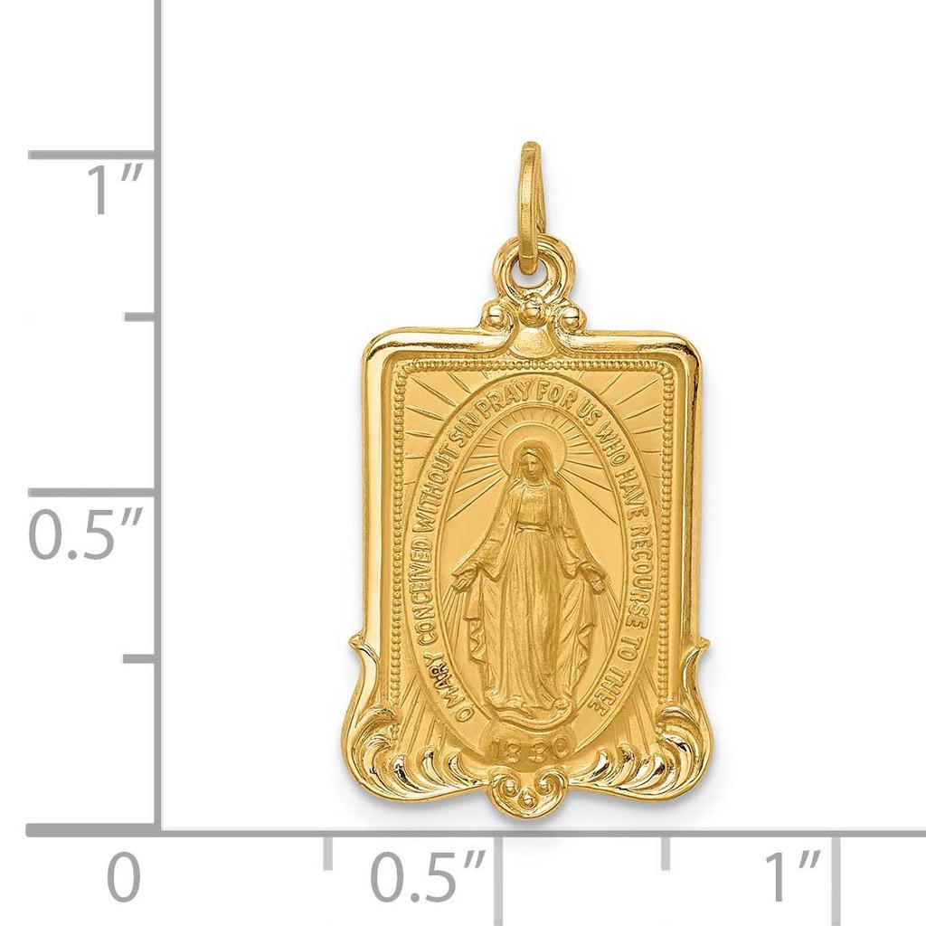 Large Rectangle Framed Miraculous Medal 14k Gold Solid Polished Satin XR1750
