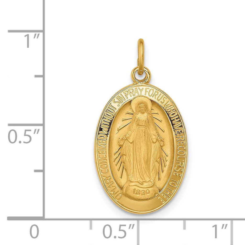 3-D Oval Miraculous Medal 14k Gold Solid Polished Satin XR1753