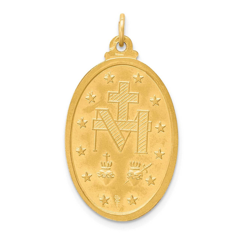 Large 3-D Oval Miraculous Medal 14k Gold Solid Polished Satin XR1755