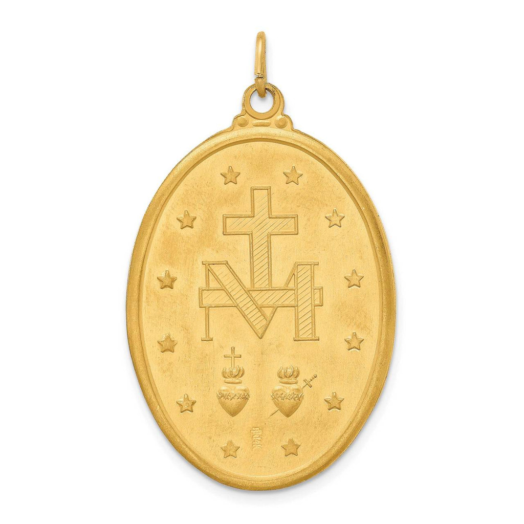 Extra Large Oval Miraculous Medal 14k Gold Solid Polished Satin XR1756