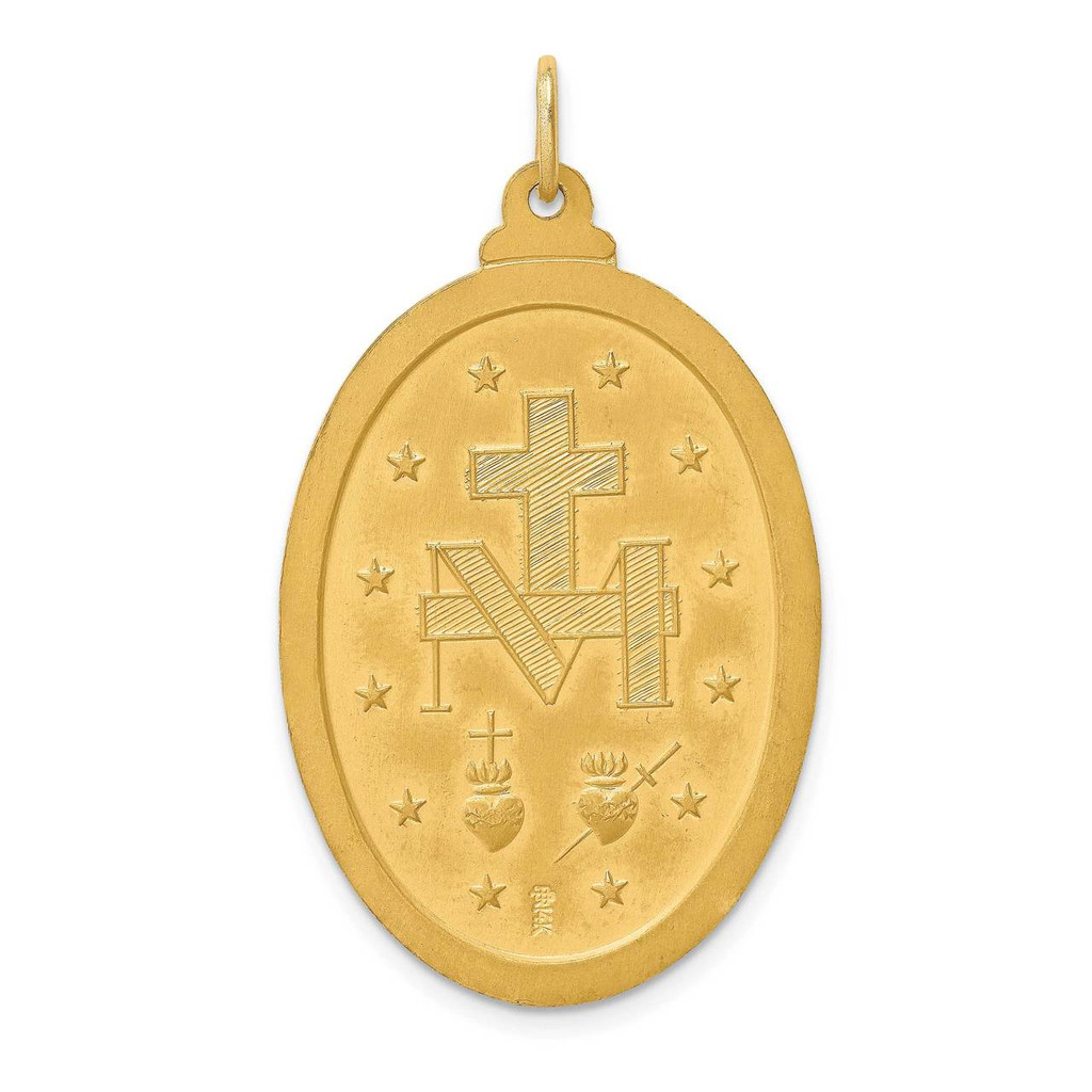 Large Oval Miraculous Medal 14k Gold Solid Polished Satin XR1760