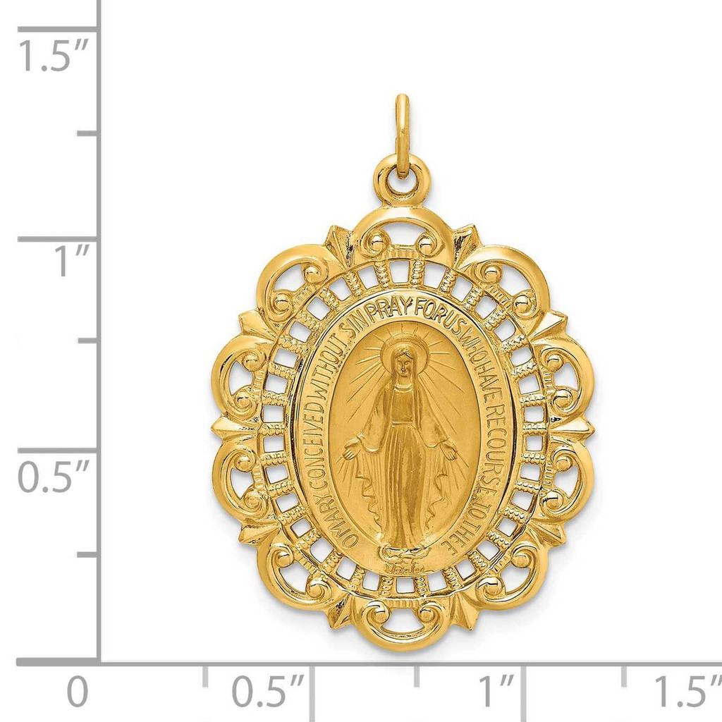 Fancy Pierced Oval Miraculous Medal 14k Gold Solid Polished Satin XR1764