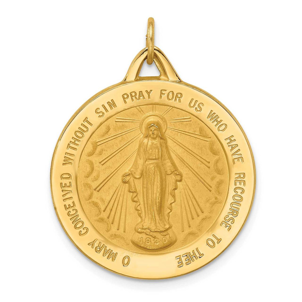 14k Gold Solid Polished Satin Extra Large Round Miraculous Medal, MPN: XR1775, UPC: