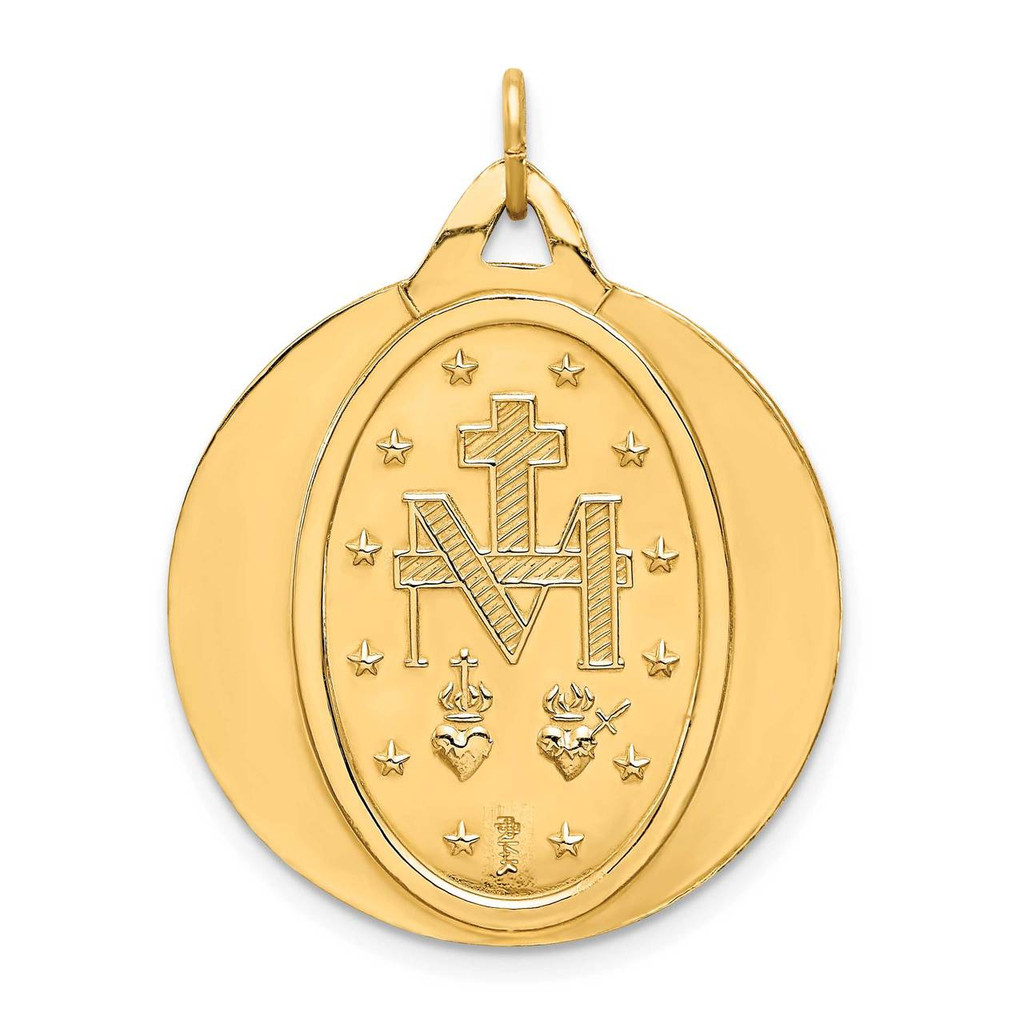 Extra Large Round Miraculous Medal 14k Gold Solid Polished Satin XR1775